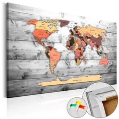 WORLD MAP - Mapa del Mundo en  Tablero de Corcho - Direction world de Thegiftclub en Etsy