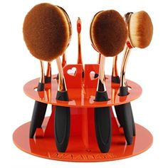 Toraway 10 Hole Oval Makeup Brush Holder Drying Rack Organizer Cosmetic Shelf Tool (Orange) ** More info could be found at the image url. (This is an affiliate link) #Makeup