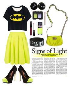 """neon lights"" by puspitakharis on Polyvore featuring Blaque Label, Schutz, Maybelline, Marc by Marc Jacobs, NARS Cosmetics, Urban Decay and Gucci"