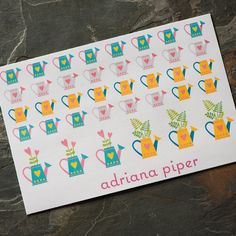 Watering Can Stickers  38 ct for Erin Condren Life Planner, Plum Paper Planner, Filofax, Kikki K, Calendar or Scrapbook by adrianapiper on Etsy