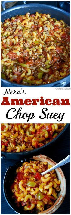 Nana's American Chop Suey!it's NOT chop suey, but a good comfort food Beef Dishes, Pasta Dishes, Food Dishes, Pasta Menu, Hamburger Dishes, Hamburger Casserole, Turkey Dishes, Crockpot Dishes, Main Dishes