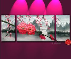 3 pieces Large Modern Abstract Art Oil Painting Wall Decor Flower