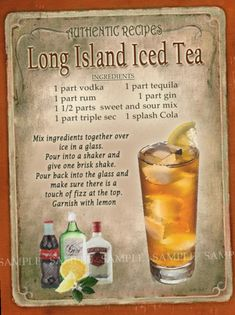 Long Island Iced Tea Cocktail First one I ever had was at The Last Chance Saloon in Burlington, VT September 1976 the night before my birthday (legal drinking age was 18 then) 😉 Iced Tea Cocktails, Cocktail Drinks, Iced Tea Vodka, Caipirinha Cocktail, Sweet Tea Vodka, Vodka Lemonade, Brunch Drinks, Brunch Buffet, Fun Cocktails