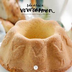 O Bolo de Fubá da Vóvó Carmen, receita da Marie Marie Bakery, pode ser uma ótima opção para a sua mesa de doces na Festa Junina! Blue Cakes, Marsala, Deserts, Ice Cream, Bread, Fruit, Recipes, Food, Cheesecakes