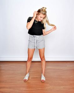 Sarah Striped Shorts in Navy, $32