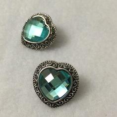 Heart shaped earrings Silver toned earrings with turquoise inlay. Jewelry Earrings