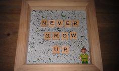 Disney Peter Pan Never Grow Up Scrabble Lego Minifigure frame Handmade Handpainted KrafterDark