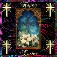 Happy Easter Image with Cross | Happy Easter everyone and may God bless you.