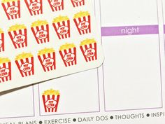 This set will include 36 Popcorn / Movie Night Stickers!. They are printed on removable high quality white label paper. These stickers are a great