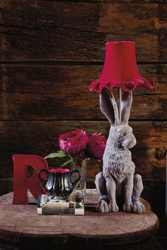 Abigail Ahern/Edition grey hare lamp, Abigail Ahern/Edition pink metal 'R' letter.
