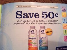 10 $.50 off 1 Gerber replenish oral electrolyte hydration solution Exp 10/31/14