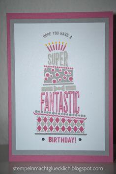 """Hier eine Geburtstagskarte mit dem neuen Stempelset aus dem Frühjahr-/Sommerkatalog 2017 """"cake crazy"""" Stampin up / geburtstagskarte / cakecrazy / Glückwunsch / cake crazy / Torte / zarte Pflaume / schiefergrau"""