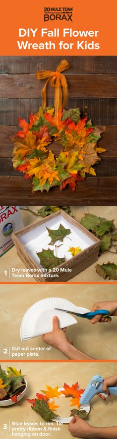 Learn how to use 20 Mule Team Borax to preserve leaves and use them to craft this festive Fall wreath with your kids. All you need is your favorite Fall florals, a paper plate, string and a hot glue gun. Click through for a guide on how to preserve flowers using 20 Mule Team Borax.