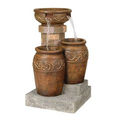 """Tuscan Faux Stone 31 1/2"""" High Patio Floor Fountain - #55499 