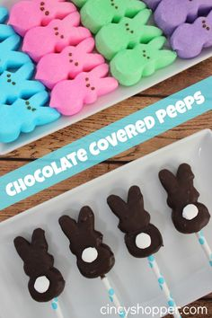 Chocolate Covered Peeps. Simple and cute for Easter Baskets. Drop in a cello pretzel bag and add a bow.
