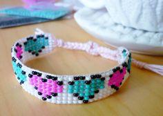 Items similar to Bead Loom Neon Hearts Bracelet on Etsy Peyote Beading Patterns, Beaded Bracelet Patterns, Bead Loom Patterns, Loom Beading, Heart Jewelry, Beaded Jewelry, Diy Friendship Bracelets Patterns, Bead Loom Bracelets, Beaded Crafts