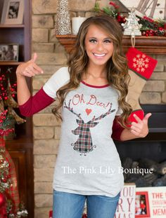 USE DISC. CODE: AMIE10 AT CHECKOUT TO SAVE!!! www.pinklilyboutique.com        Oh Deer Tunic
