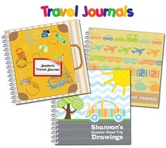 Personalized travel journals for children. Kids can write about their trip or draw in our exclusive books.