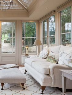 Conservatory Furniture in a luxury bespoke orangery. Small Conservatory Furniture, Conservatory Ideas Interior Decor, Conservatory Flooring, Conservatory Interiors, Conservatory Dining Room, Conservatory Design, Cosy Conservatory Ideas, Conservatory Lighting, Orangery Conservatory