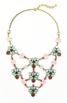 Flower Web Necklace - mint and pink floral crystal statement necklace by Shamelessly Sparkly $34.90