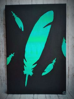 Feather ... Pírko (20x30cm)Abstract art, feather silhouette, black and green or blue or tyrkys