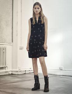 AllSaints Women's October Lookbook Look 7: Anouk Embeliished Lin Dress, Cacey Boot.