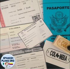 Travel Theme for Spanish class: Airline ticket template, Passport booket template with Visa and foreigner's ID card.