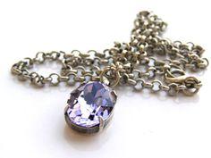 Amethyst Necklace Purple Amethyst Swarovski by AquamarineJewelry, $32.00
