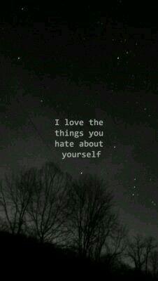Eu amo as coisas que você odeia sobre si mesmo.