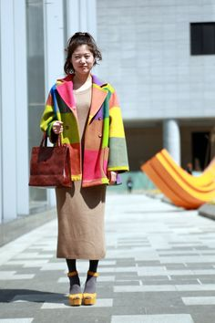 A great multicoloured coat for spring