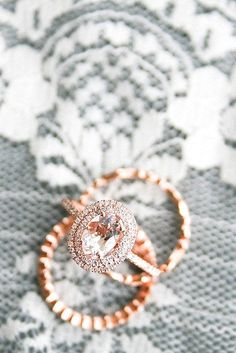 Morganite ring with surrounded with two diamond rows