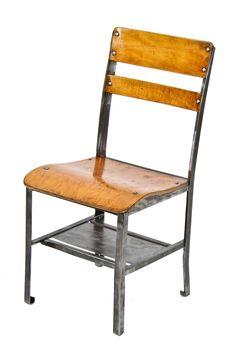 rare original c. 1930's vintage american classroom stationary angled steel desk stool with unique undershelf