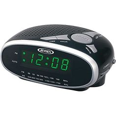 Enjoy your favorite radio station or traditional alarm by using this JENSEN AM and FM Alarm Clock Radio. Easy to connect your iPod or Online Clock, Radio Alarm Clock, Green Led, Desk Clock, Digital Audio, Digital Alarm Clock, How To Fall Asleep, Display, Autos
