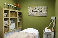 Golden Key Spa . 150 Amber Grove Dr . Ste 150 . Chico . CA . 95973 || day spa || massage therapy room || esthetician room || aesthetician room || esthetics || skin care || body waxing || hair removal || body scrub || body treatment room || treatment room storage idea