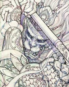 "3,567 lượt thích, 15 bình luận - David Hoang (@davidhoangtattoo) trên Instagram: ""Upcoming monkey king #chronicink #sketch #illustration #drawing #irezumi #tattoo #asiantattoo…"""