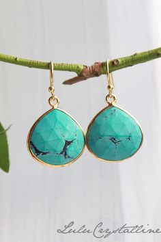 Dangle Earrings, Large Turquoise Gold Earrings, Stone Earrings, Drop Earrings, Birthstone Earrings, Gemstone Jewelry
