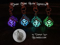 Cube Glow Lockets ™ Comes on chain only available in aqua, blue, green, and violet A perfectly little petite, silver-plated, ornate glowing Cube locket! Choose your color when you add to cart!Delicately handmade little treasures that glow super bright after being worn in the sunlight!
