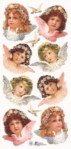 Engeltjes met bloemhaarband poezieplaatjes Stickers P33: