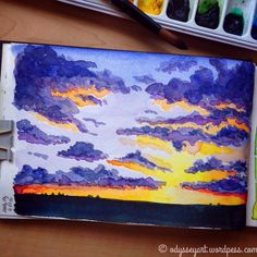 Todays #dndchallenge prompt: watercolor sky Mixed brand watercolors in Strathmore watercolor journal. #the100dayproject #doodleeveryday #dailydoodle2016 #odysseyartdoodles #odysseyartart #dndcreative #illustration #art #sketch #sketchbook #drawing #doodles #strathmore #watercolor #sunrise #sunset http://ift.tt/23VOEOv http://ift.tt/28NYcES