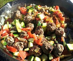 Meatball Zucchini Skillet w quinoa? Best Zucchini Recipes, Paleo Recipes Easy, Beef Recipes, Real Food Recipes, Cooking Recipes, Paleo Meals, Fodmap Recipes, Cooking Ideas, Kitchens