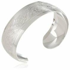 Sterling Silver Polished Embossed Cuff Bracelet
