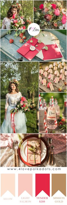 Summer outdoor garden wedding ideas & perfect color palette for Your Special Day. Shades of creams combined with bright red color #wedding #ideas