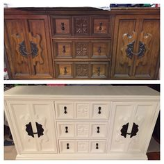 Before and after, Lace Americana decor chalk paint, bronze spray paint