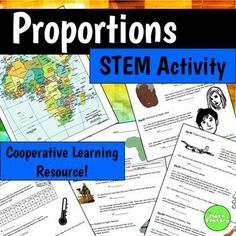 Discover: Africa is a great cross-curricular way to bring STEM into your proportions unit!  Students (either alone or in pairs) work through questions that require measuring, calculating conversions, solving proportions, percentage problems, determining the mean, and reading a map.
