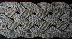"Beige Rope Rug Door Mat  Cream Throw Rug Easy to Clean Nautical Beach Decor 37 x 14"""