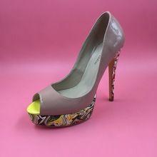 Sexy Mulheres Nuas Bombas Peep Toe Plataforma De Salto Alto Salto Alto Grosso Zapatos Mujer sapatos de Salto Alto Feminino 2017 nova alishoppbrasil