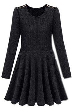 ROMWE | Pleated Lower Hem Slimming Black Dress, The Latest Street Fashion