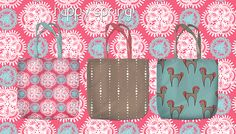 How can one live without tote??:) #tote #totebag #pattern #print #coral #mint #horses #mandala