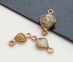 1 Pc Rose Gold Yellow Rough Diamond Connectors by gemsforjewels