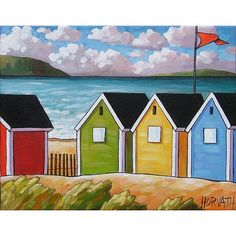PAINTING ORIGINAL Folk Art Abstract Beach Huts by SoloWorkStudio, $159.00
